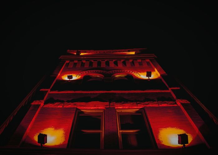 """""""Hell is a nice place to have a home"""" (2016) Red Low Angle View Architecture Illuminated Building Exterior No People Night Photography Nightmarish Urban Photography Urban Landscape Denver,CO Outdoor Photography In The City Highland Neighborhood Low Angle Shot Atmospheric Mood Red Color"""
