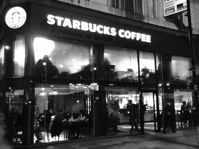 Street boutique Starbucks Coffee Black And White Upstairs,downstairs Vague Clear