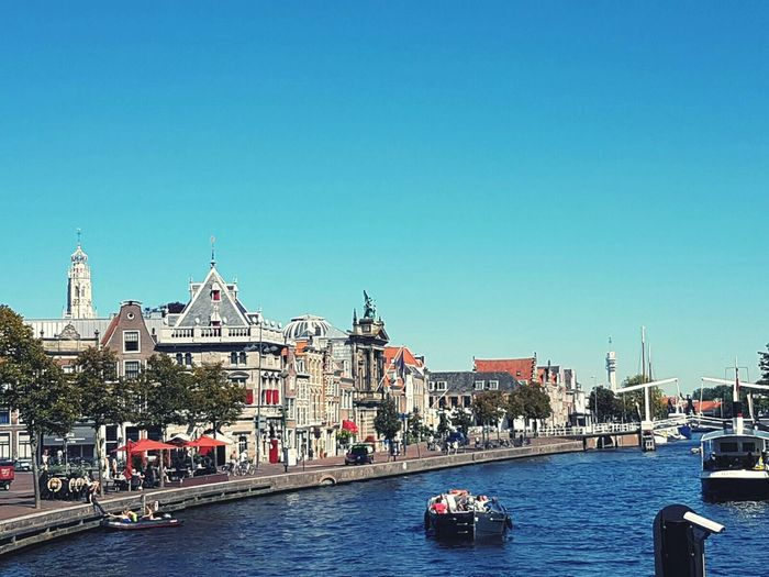 Clear Sky Outdoors Canal Day Built Structure City Life Boot Bridge Water Transportation Blue Haarlem Spaarne