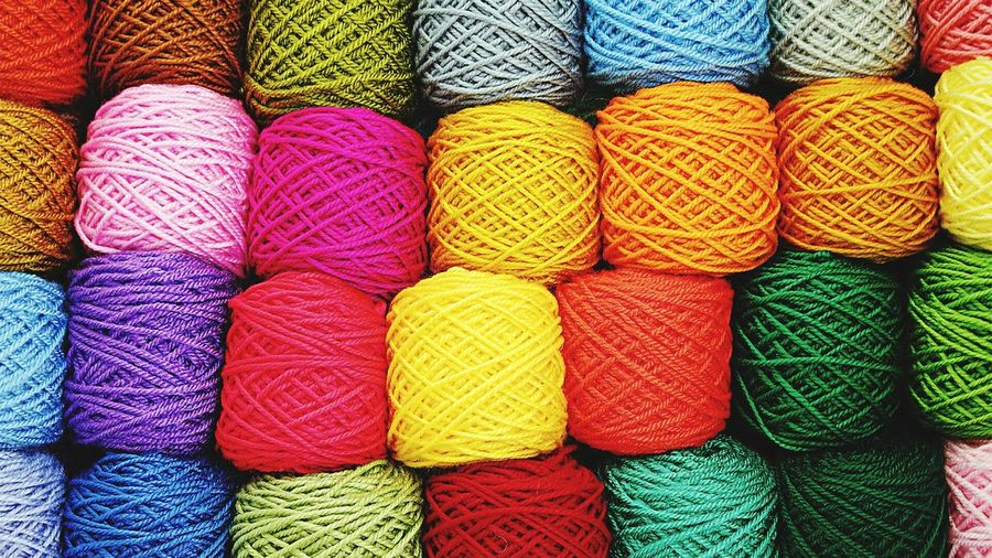 Full Frame Shot Of Colorful Wool