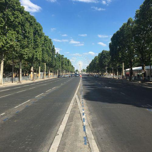 The Avenue des Champs-Élysées Asphalt Blue Cloud Cloud - Sky Day Empty Road No People No Traffic Outdoors Road Sky Tree