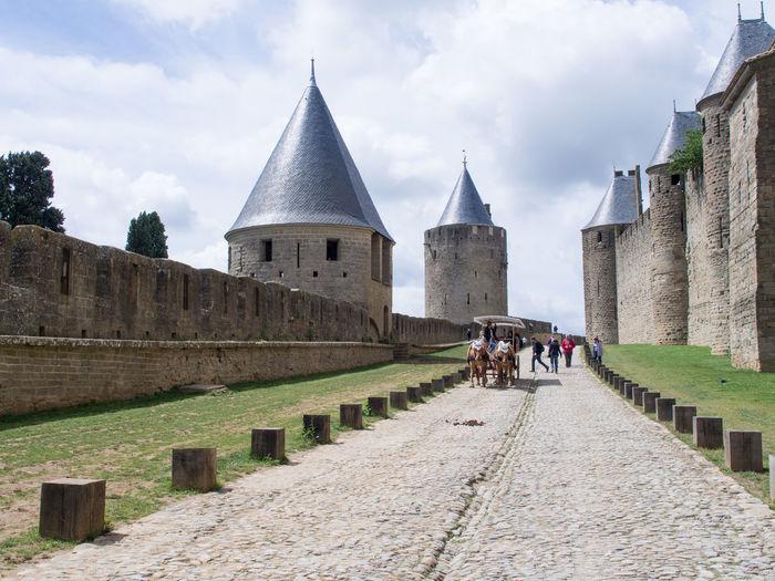 Architecture Carcassonne Castle Day Famous Place France History Tourism