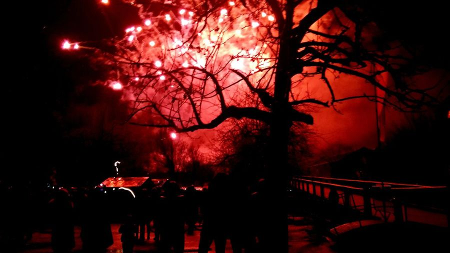 firework , happy new year 2k18 . Firework 2018 Happy People Happynewyear Fireworks Happynewyear2018 Night Tree Red Nightlife Illuminated Outdoors No People