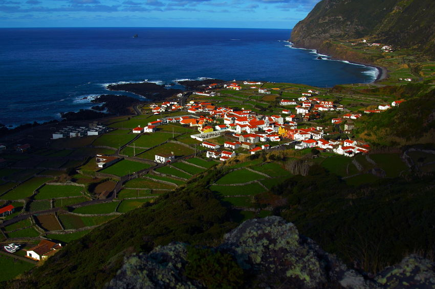 Aerial View Agriculture Architecture Blue Wave Building Exterior Day Faja Grande Flores Island, Azores High Angle View Horizon Over Water No People Outdoors Scenics Sea Terraced Field Village Volcanic Landscape Water Flying High