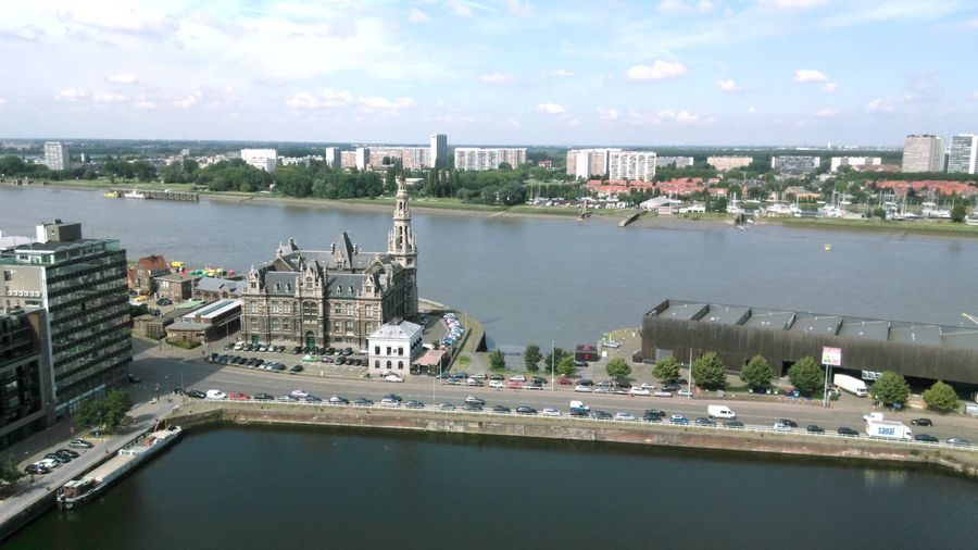 Panorama of the Schelde river and the Bonaparte dock, Antwerp, Belgium. As seen from Museum Aan de Stroom (MAS). Belgium Antwerpen Antwerp River Water Waterfront Schelde Scheldt Dock Bonapartedok Loodswezengebouw Outdoors Aerial View Nautical Vessel Built Structure Boat No People Architecture Cityscape City High Angle View Sky Maritime Travel Destinations