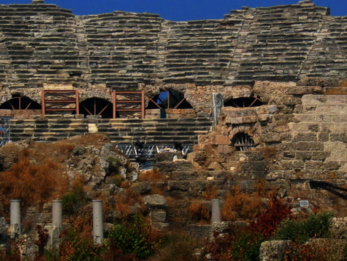 Architecture Blue Built Structure Day No People Outdoors Roman Theatre Side Turkey Sky