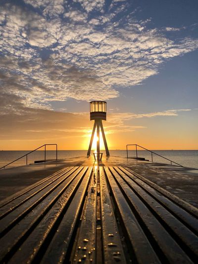 Lifeguard Tower Sunrise Moments Sky Sea Water Scenics - Nature Horizon Horizon Over Water Architecture Beauty In Nature Nature Beach No People