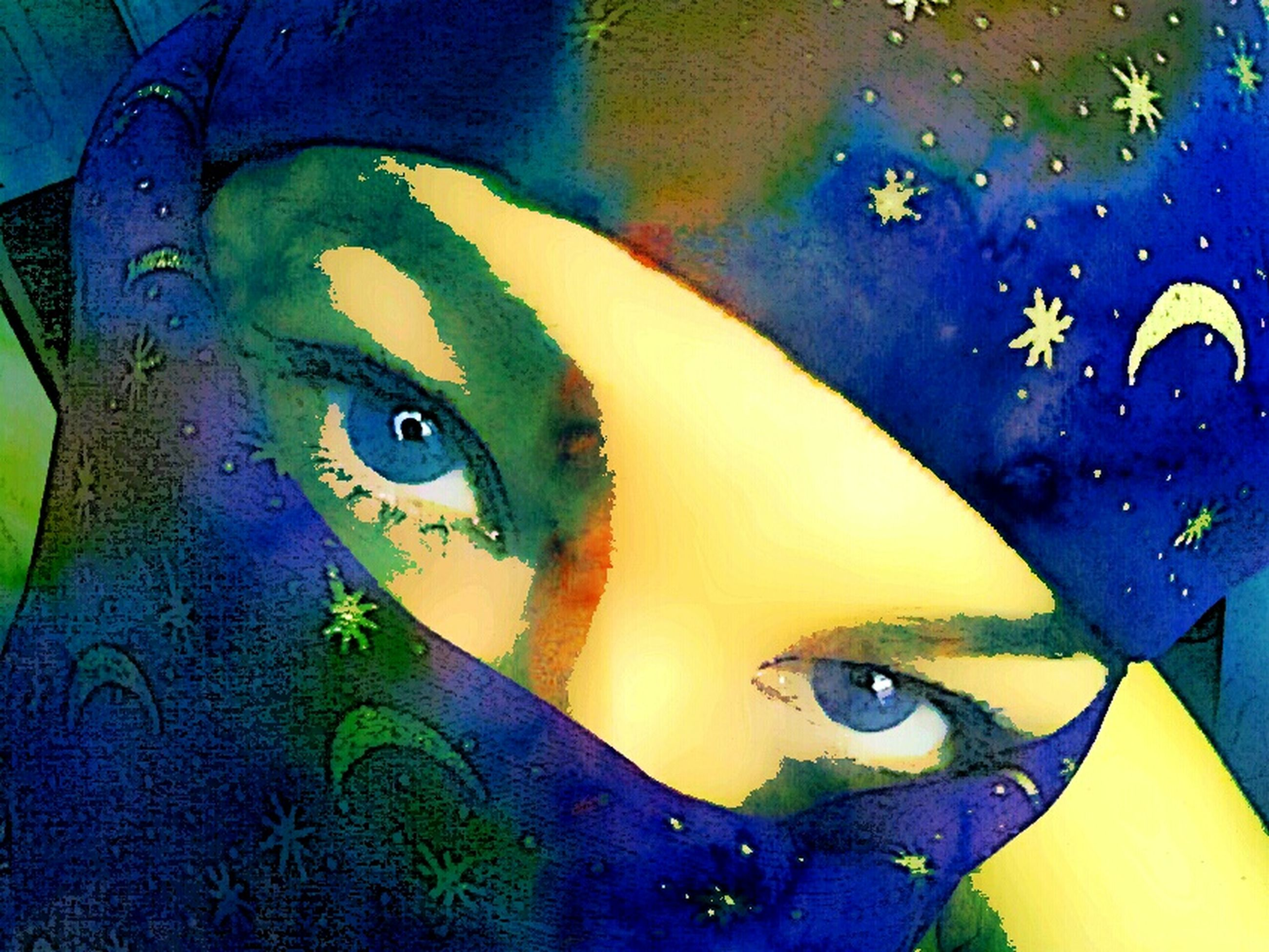 graffiti, art, creativity, art and craft, multi colored, close-up, wall - building feature, full frame, blue, paint, yellow, backgrounds, indoors, street art, painting, design, pattern, abstract, digital composite, human representation