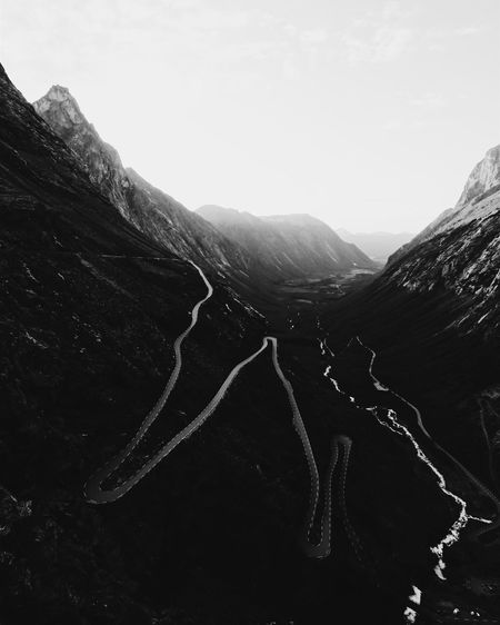 Turns turns turns. Mountain Beauty In Nature Nature Landscape Tranquility Outdoors Tranquil Scene Day Scenics Physical Geography Mountain Range No People Sky Norway Norwaysafari Scandinavia Trollstigen