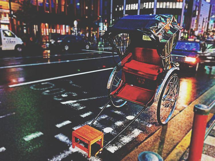 日本の古いタクシー。人力車。 Old Taxi Vintage Rickshaw Jinrikisha Tokyo Night Rainy Night Hello World Tadda Community