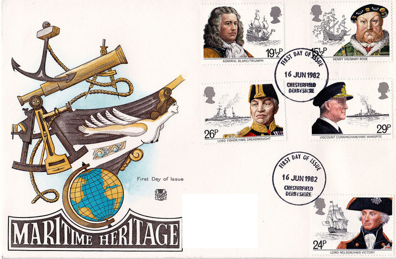 People Day Nelson Close-up White Background Henry VIII One Person First Day Covers Admiral Blake Lord Fisher Maritime Heritage