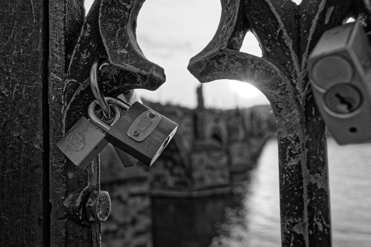 Locks Hanging Close-up Love Lock Faith Padlock Chainlink Fence Chain Locket Locked Full Frame Closed Security Attached