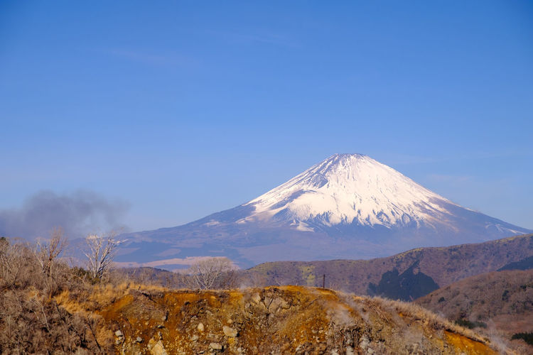 Scenic view of snowcapped mt fuji against clear blue sky