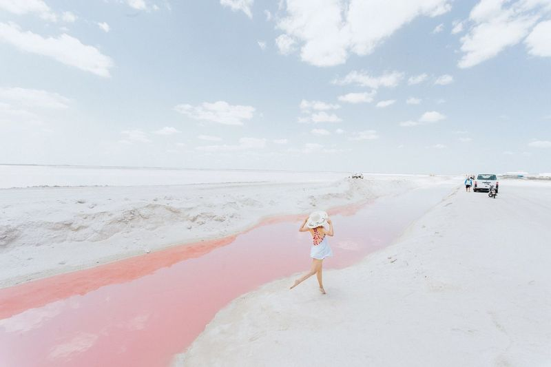 Las Coloradas, Yucatán, Mexico. Surreal Traveler Beach Babe Beach Day Beach Life Summer Days Summer Holidays Summer Vibes Travel Destinations Travel Photography Jumping Pink Color Pink Lake Rio Lagartos Yucatán, México Yúcatan Las Coloradas Las Coloradas, Yucatán, México. Mexico Beach Sea Sky Nature Lifestyles Cloud - Sky Leisure Activity Beauty In Nature Holiday Vacations Sand