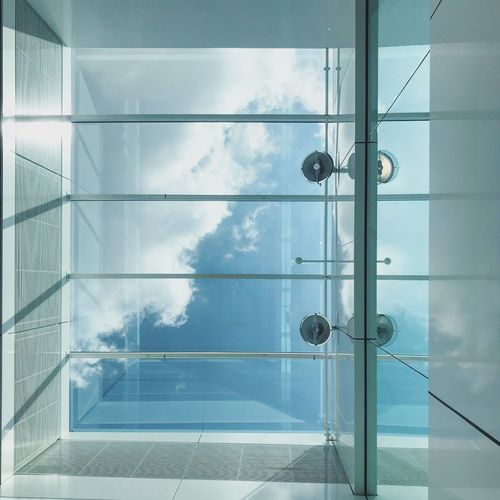 Sky View Door Safety Entrance Closed Security Indoors  Window Reflection Transparent Built Structure Architecture Day Tile Cloud - Sky Building Protection Sunlight Flooring The Architect - 2018 EyeEm Awards The Still Life Photographer - 2018 EyeEm Awards