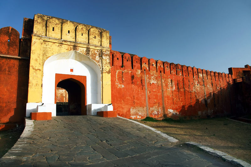 Entrance of jaigarh fort against clear sky