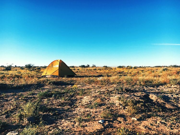 Camping outside of Carlsbad, NM Clear Sky Copy Space Blue Landscape Tranquil Scene Nature Tranquility No People Beauty In Nature Outdoors Day Field Scenics Sky CarlsbadCaverns VSCO Vscocam Vscogood Camping Outdoors Photograpghy  EyeEmNewHere