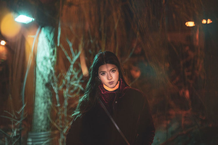 One Person Portrait Young Adult Young Women Beauty Looking At Camera Beautiful Woman Front View Adult Clothing Focus On Foreground Night Women Leisure Activity Standing Brown Hair Lifestyles Tree Hair Hairstyle Outdoors Contemplation Teenager Warm Clothing 17.62° My Best Photo