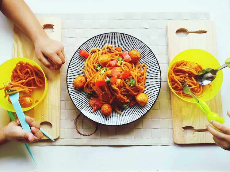 Noodles pasta #pasta #noodles #food Human Hand Plate Healthy Lifestyle Domestic Life Table Bowl High Angle View Directly Above Preparation  Cutting Board Spaghetti Italian Food Pasta