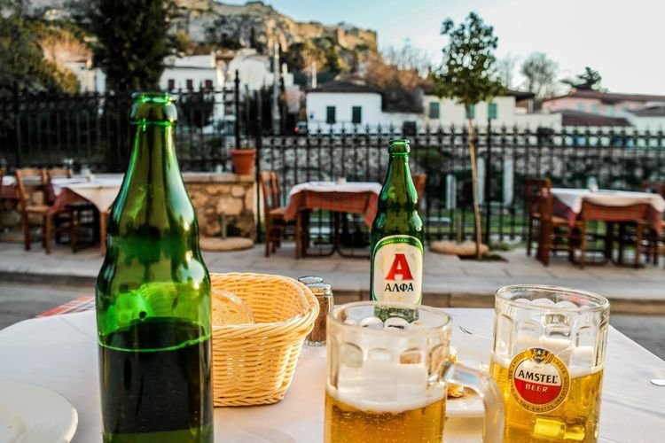 Athens - March 2015 Bread Vacation Cafe Beer Europe Greece Athens Bottle Food And Drink Drink Focus On Foreground No People Alcohol Drinking Glass Freshness Day Outdoors Close-up Food Stories
