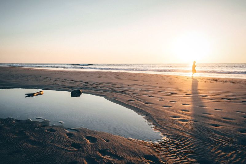 Time traveler Sunset Sky Beach Light Landscape Silhouette Nature Light And Shadow Nikon