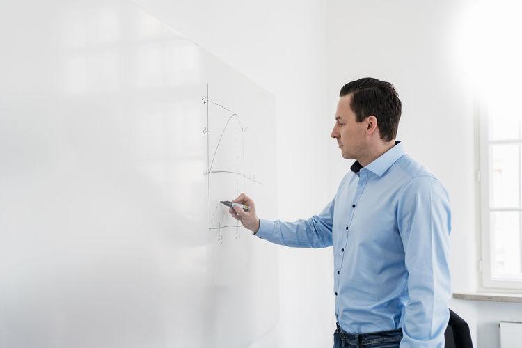 Young man looking at camera on wall