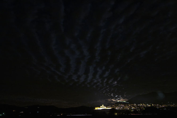 Cloudy moonrise over Assisi. Night Scenics Sky No People Long Exposure Moonrise Basilica Di San Francesco Assisi, Italy