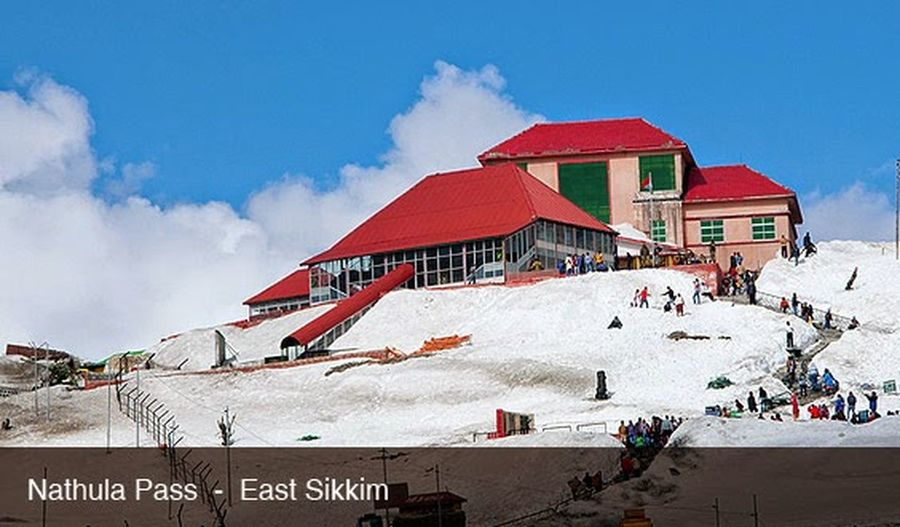 It is called Nathula pass & snoey mountain with red holiday resort Architecture