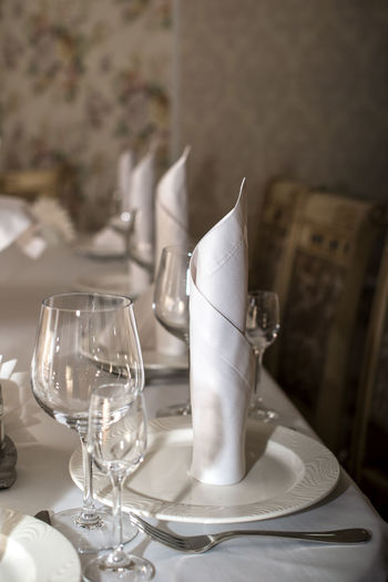 View of wine glasses on table