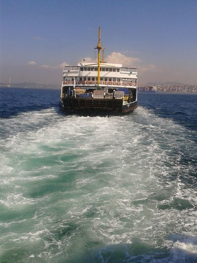 Istanbuldayasam Istanbullife Istanbul - Bosphorus Sea Transportation Nautical Vessel Text No People Outdoors Day Nature Sky Sinking Boats And Water Boats⛵️ Bluesea White Boats Blue Water White Foam Kadıköyrıhtım