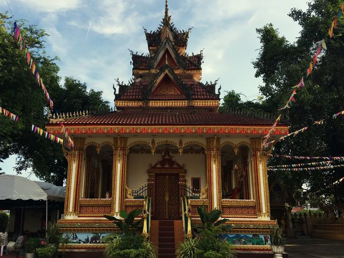 Pha That Luang monk temple Temple Pha That Luang Temple Built Structure Architecture Building Exterior Religion Belief Tree Building Spirituality No People