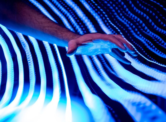Outstretched Hand Reach Reaching Futuristic Blue Cold Lighting Light Painting Fingers Human Hand Manufacturing Equipment Factory Blue Industry Occupation Textile Working Backgrounds Pattern
