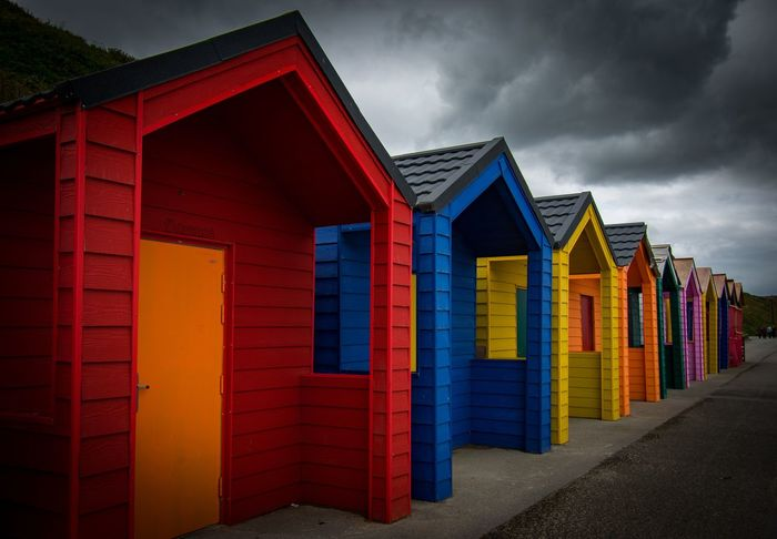 Saltburn beach huts Colours Stormy Weather EyeEmBestPics Nikonphotography Sky_collection EyeEm Best Shots Clouds And Sky Sky And Clouds Skyporn Architecture Built Structure Cloud - Sky Sky In A Row Multi Colored Building Exterior Beach Hut Hut Side By Side Outdoors Building