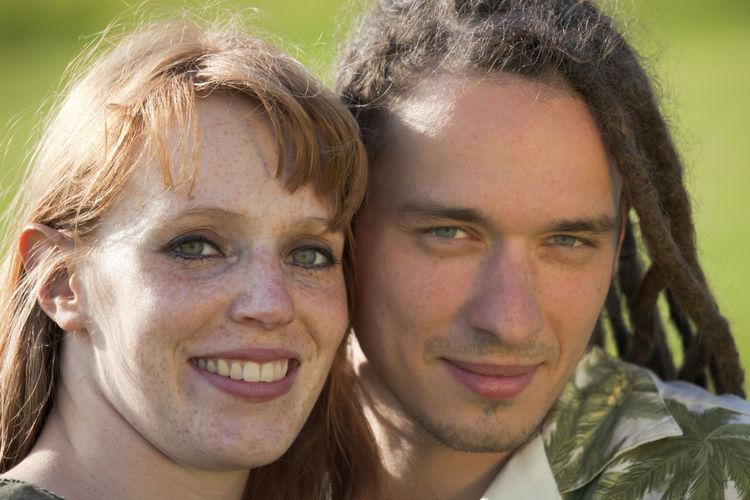 Close-up portrait of happy couple