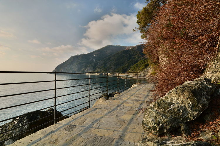 Walkway in Framura. Liguria. Italy Liguria Liguria,Italy Ligurian Sea Framura Walkway Mediterranean  Mediterranean Sea La Spezia Liguria Di Levante Water Beauty In Nature Scenics - Nature Outdoors Non-urban Scene Sea Tranquil Scene Tranquility No People Nature Cloud - Sky Tree