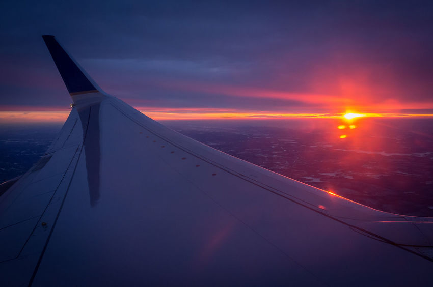 Relaxing Enjoying Life From An Airplane Window Sun Set
