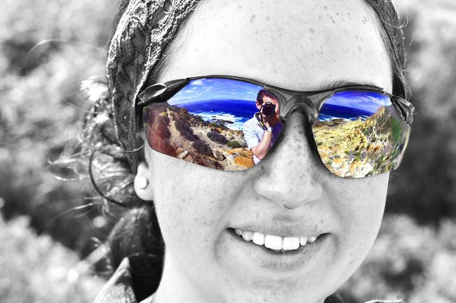 Seeing through the eyes of another! Rocks Blue Water Beach Sea Portrait Headshot One Person Glasses Body Part Fashion Sunglasses Close-up Looking At Camera Reflection Eyewear Young Adult Day Outdoors