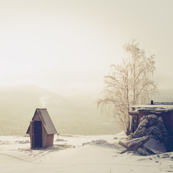 Cold Temperature Day Foggy Frosty Frozen Light Nature No People Outdoors Outhouse Rural Rural Scene Russia Siberia Snow Tree Winter