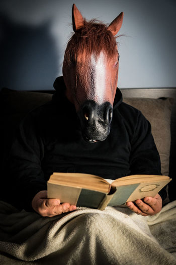 Mammal Indoors  Domestic Domestic Animals Pets One Animal One Person Furniture Sofa Home Interior Obscured Face Horse Mask Masquerade Mask Carnival Reading Learning Learning Photography Young Adult Adult Man Publication Book Sitting Activity Front View Holding Jeans