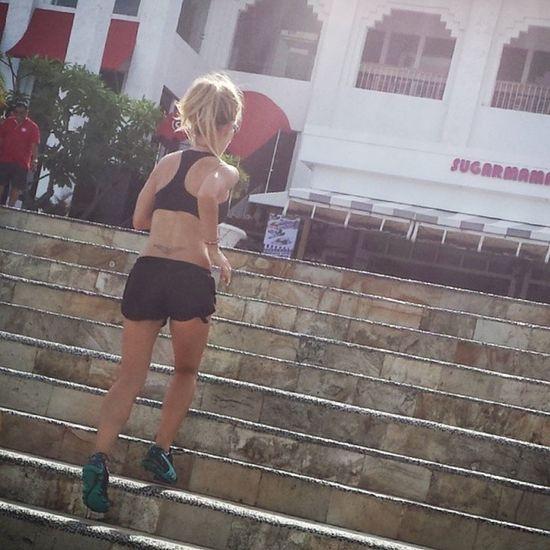 Pyro'd up morning beach cardio & stair sprints! Bali Beach Pyro Asn