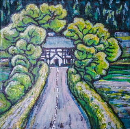 Preparing ArtWork for the coming exhibition in Oswestry Art And Craft No People Day Outdoors Close-up High Angle View Cottage Acrylic Acrylic Painting Art Ink Wales Stylized Trees Road My Art My Artwork Britain Welshpool Landscape
