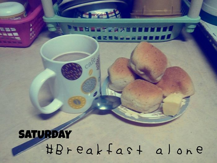 Relaxing having a brealfast alone.