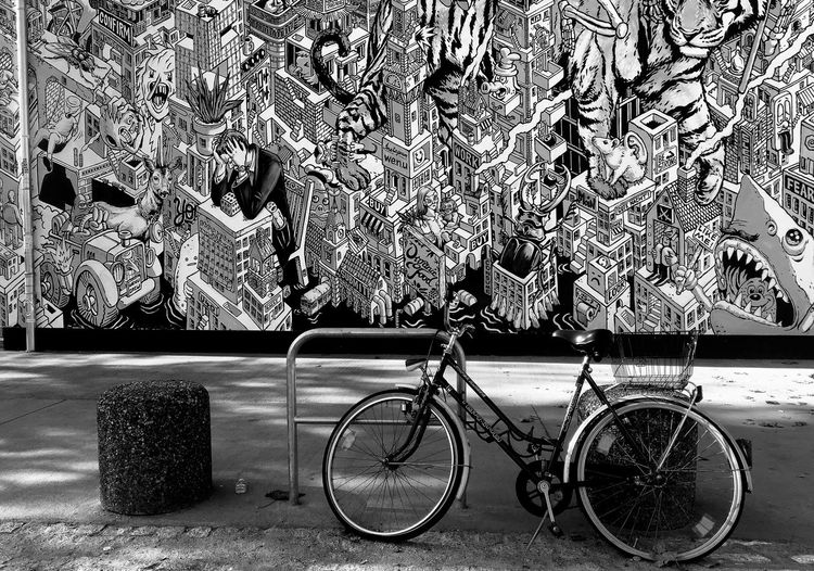 The Week On EyeEm Bicycle Bicycle Rack Blackandwhite Day Discover Berlin IPhone Land Vehicle Mode Of Transport Mural Mural Art No People Outdoors Stationary Transportation