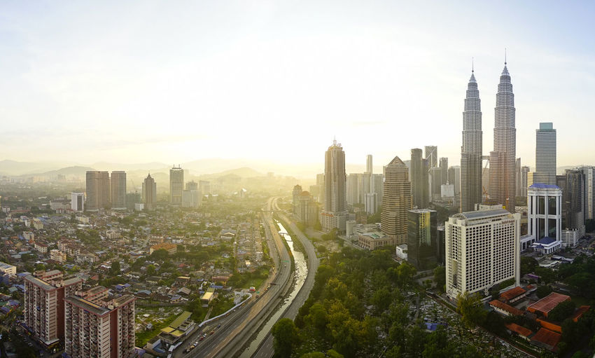 Panorama of Kuala Lumpur city from high angle with sunrise view in the morning Aerial View Architecture Building Exterior Built Structure City City Life Cityscape Financial District  Growth High Angle View Klcc Kuala Lumpur Malaysia Modern Morning Office Building Outdoors Skyscraper Sunrise Tall - High Tower Travel Destinations Urban Skyline