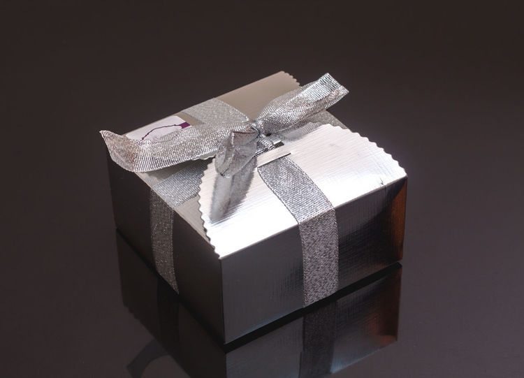 Silver gift box Black Background Celebration Close-up Day Gift Indoors  Luxury No People Ribbon - Sewing Item Studio Shot Wrapping Paper