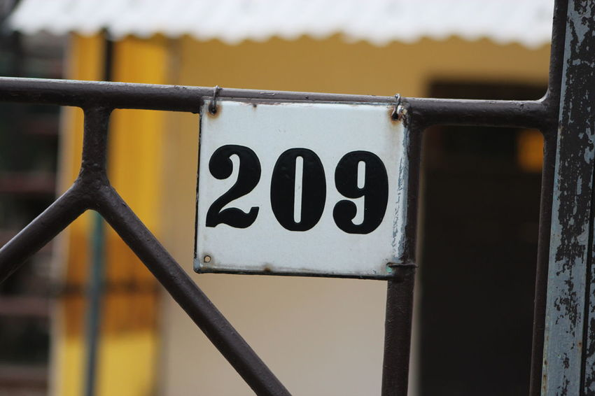 209 Close-up Communication Day Fence Focus On Foreground Metal No People Number Outdoors Weekend House 2 0 9 Summer Weekend