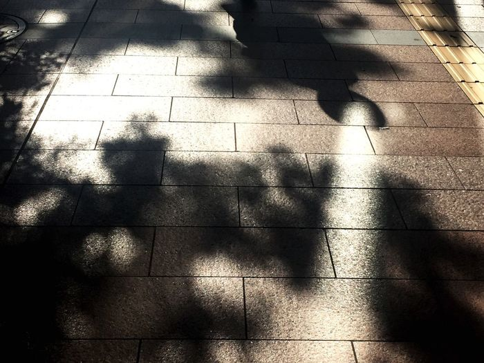 Low section of man shadow on tiled floor