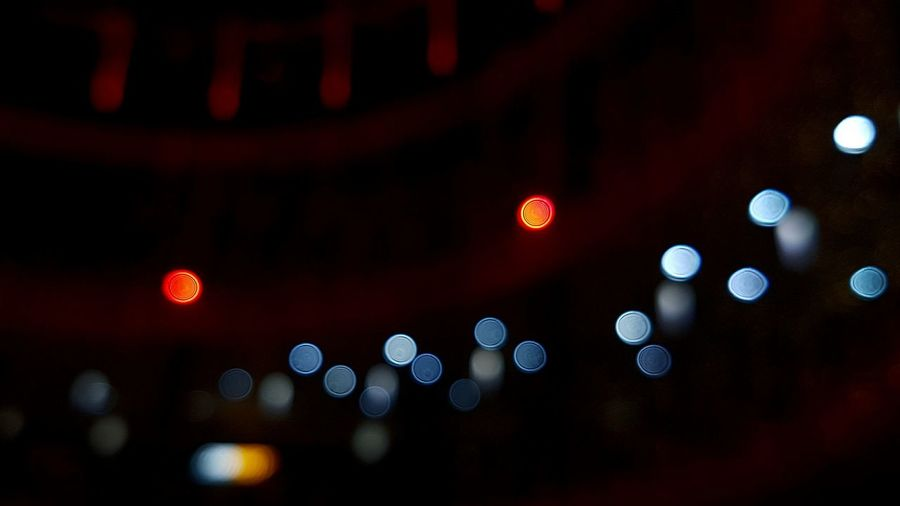 Colourful lights bokeh effect in dark with blue and red colors blurred Close-up Illuminated Night No People Indoors