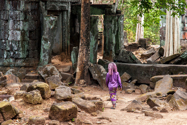 Ancient Civilization Angkor Archeological Site Architecture Cambodia Day Full Length Hidden Places Khmer Koh Ker Nature One Woman Only Outdoors People Real People Rear View Rock - Object Ruins Standing The Secret Spaces Walking Women The Great Outdoors - 2017 EyeEm Awards Neighborhood Map in Koh Ker, Cambodia