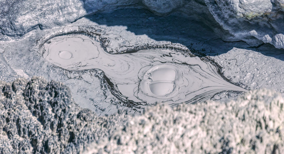 Aerial view of frozen water on land